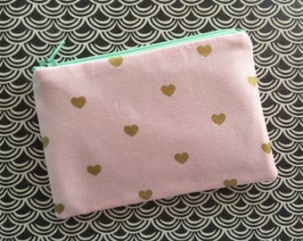 Pink Coin Purse - Gold Hearts - Small zipper pouch - change purse - cute wallet - pink bag - heart bag - heart pouch - zipper pouch