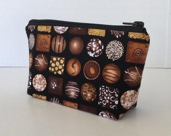 chocolates makeup bag , cosmetics bag, make up bag, zipper pouch, zipper bag, purse organizer, gift for her,
