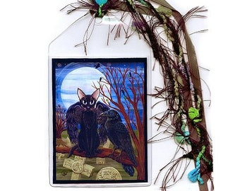 SALE Black Cat Bookmark Raven Bookmarker Moon Crow Cemetery Gothic Cat Painting Fantasy Cat Art Mini Bookmark Cat Lovers Gift