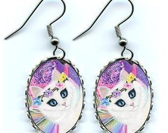 Rainbow Fairy Cat EarringsWhite Fairy Cat Tarot Art Fantasy Cat Art Cameo Earrings 25x18mm Gift for Cat Lovers Jewelry