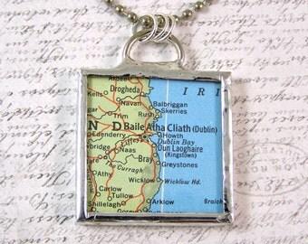 Dublin Ireland Map Pendant Necklace