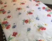 RESERVED FOR VALERIE Vintage Tablecloth -Bright Floral Picnic Wildflower Table Linen Repeat Pattern - Vivid Retro Colors