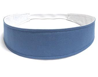 Women's Headband - Reversible Fabric Headband - Headbands for Women - Chambray, Dusty Blue - SOLID CHAMBRAY BLUE