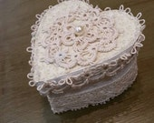 Elegant Lace Tatted Trimmed Heart Box With Added Pearl Cottage Chic