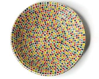 Medium Serving Bowl with Rainbow Squares