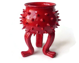 Grouchy Pot - Bright Red Ceramic Succulent Pot with Spikes - Planter Pot