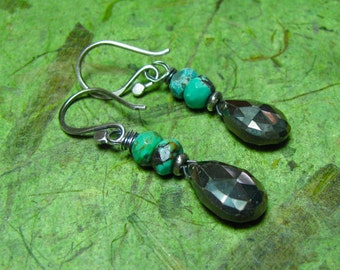 Fusion - Turquoise, Pyrite and Sterling Silver Earrings