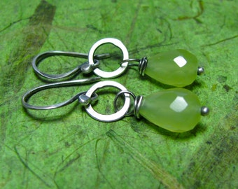 Green Day - Chalcedony and Sterling Earrings