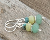 Faceted AVENTURINE Stack Olive Jade Turquoise Hill Tribe Sterling Silver Drop Earrings // Handcrafted Jewelry // luluglitterbug