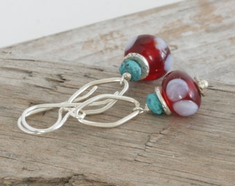 POLKA-DOT Lampwork Turquoise Sterling and Hill Tribe Silver Dangle Drop Earrings