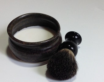 Bold Dark and Handsome Shaving Mug with Badger Brush and Soap