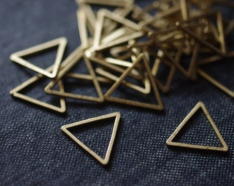 Equilateral Triangles 15mm (Thicker) - Raw Brass - 24pcs - Triangle Connector, Brass Triangle, Triangle Link, Triangle Ring