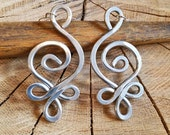 Unique BIG Earrings, Celtic Budding Spiral Swirl - Light Weight Hammered Aluminum Wire, Celtic Jewelry, Women, Long Dangle Earrings
