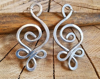Unique BIG Earrings, Celtic Budding Spiral Earrings, Light Weight Hammered Aluminum Earrings, Celtic Jewelry, Women, Long Dangle Earrings