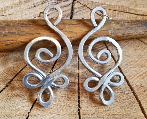 Celtic Budding Spiral Swirl Unique BIG Earrings - Light Weight Hammered Aluminum Wire, Celtic Jewelry, Women, Long Dangle Earrings