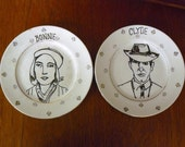Bonnie and Clyde hand painted vintage china bread and butter plates with hangers recycled art Valentines couples SALE