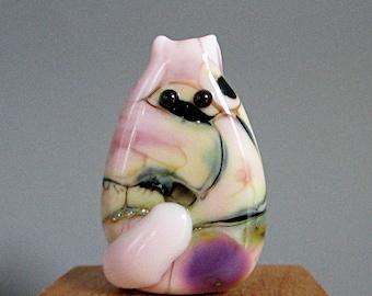 Pink Cat Bead Handmade Lampwork Focal - Sheila FatCat