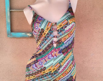 Vintage 1980s Swimsuit Cole of California Bathing Suit Work Out Maillot Sz M