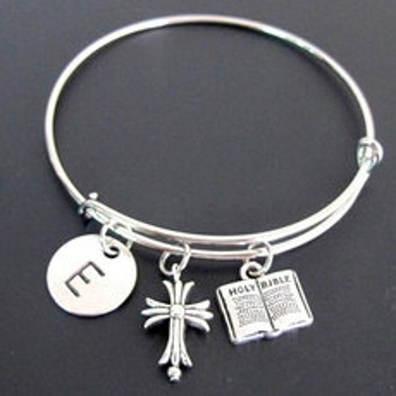 Personalized Christian Gift,Religious Bracelet,Cross Bangle Hand stamped initial, cross bracelet Holy Bible Bracelet,Free shipping In USA