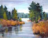 Large Landscape River New Mexico Southwest  18x24 Original Pastel Painting