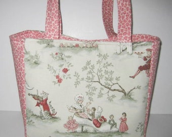 Over the Moon Nursery Rhyme Toile | Diaper Bag Tote | Large Diaperbag Boxy Style