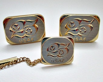 USAF 25 Year of Service Tie Tack and Cuff Link CufflinkSet  - Vintage Men's Dude Jewelry Gift
