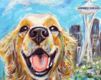 Golden Retriever painting Seattle Seahawks space needle Twelfie flag whimsical dog art