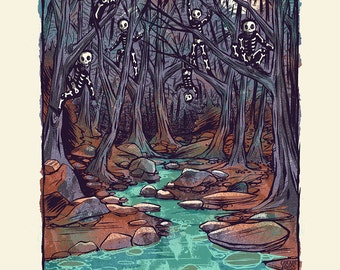 Watchers in the Woods - Screenprinted Art Print
