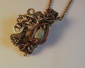 Larimar & Silver Wire Wrapped Victorian Inspired Pendant