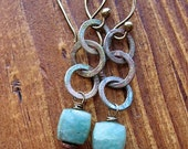 Amazonite Cubes with Weathered Patina Chain Earrings 1