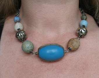 As You Are Necklace - Tibetan Blue Copal, Repousse, Indonesian Glass and Ceramic Necklace