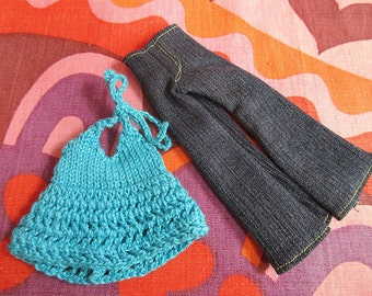 Odds & Ends SALE - Blythe:  2 piece jeans set with crochet top
