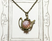 A Teapot of Rose Tea Antique Brass Necklace, Teapot Necklace, Rose Tea Necklace, Afternoon Tea Necklace, Girlfriend Gift