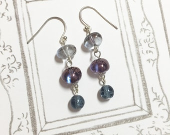 Blue and Bubble Glass Dangle Earrings, glass bead earrings, Christmas gift, birthday gift