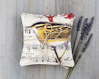 Pair of Lavender Sachets with Birds, Roses, and French Music, Rustic Romance