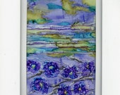 Alcohol ink painting landscape wildflowers semi abstract