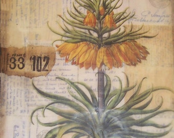 Flower encaustic collage art, collage painting, beeswax collage, home decor, small art
