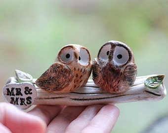 Clay Owls - Owl cake topper - Clay Owls - Made To Order - Owls Wedding cake topper - Woodland Wedding -CUSTOMIZED for You