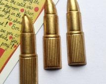 3 vintage brass large Lipstick charms 43x11mm 1970s kitsch cosmetics