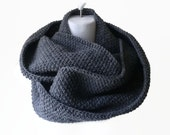 Charcoal Grey Circle Scarf Dark Gray Infinity Scarf Wool Blend Loop Men Women CHELSEA Ready to Ship - Autumn Fall Winter Fashion
