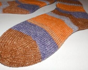 Knitted socks . Hand knit socks . Striped adult socks . Opal wool socks . Knit socks . Handknit wool socks . Handmade in Canada . Medium