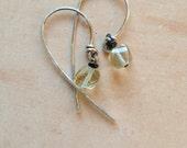 dangle earrings,  spiral cut lemon quartz, faceted nuggets