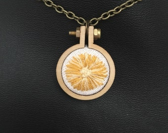 """Happy Fluffy Daisy 1"""" Embroidered Hoop Necklace with Chain"""