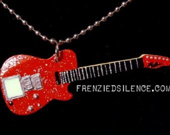 Matt Bellamy MUSE Red Glitter Guitar Pendant