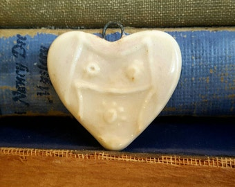Handmade Ceramic Heart Owl Pendant Blue Latte Pink Tuquoise