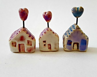 Porcelain Terrarium Miniatures Heart House Blue and Pink