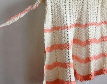 30% OFF SUPER SALE- Vintage Half Apron-Crocheted-Peaches and Cream