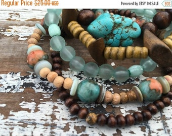 30% OFF SUPER SALE- Beaded Stack Bracelets-Glass and Wood-Cuff Accessories-Boho Style-Driftwood