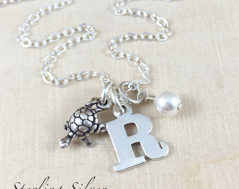 Sterling Silver Turtle Charm Necklace Personalized With An Initial Charm And Birthstone, Turtle Charm Jewelry