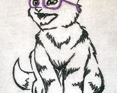 Hip Kitty with PURPLE glasses - Embroidered Cotton Dish Towel with or without words